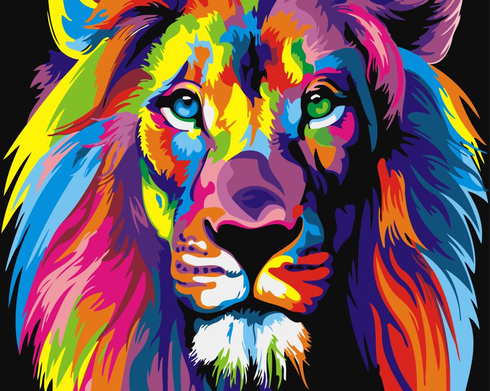 Картина по номерам Радужный лев | GX8999