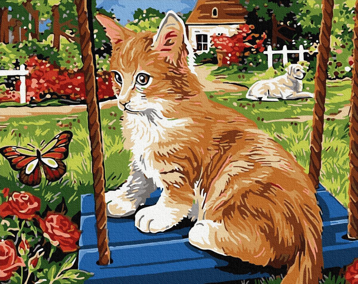 Картина по номерам Котенок с бабочкой   GX32078