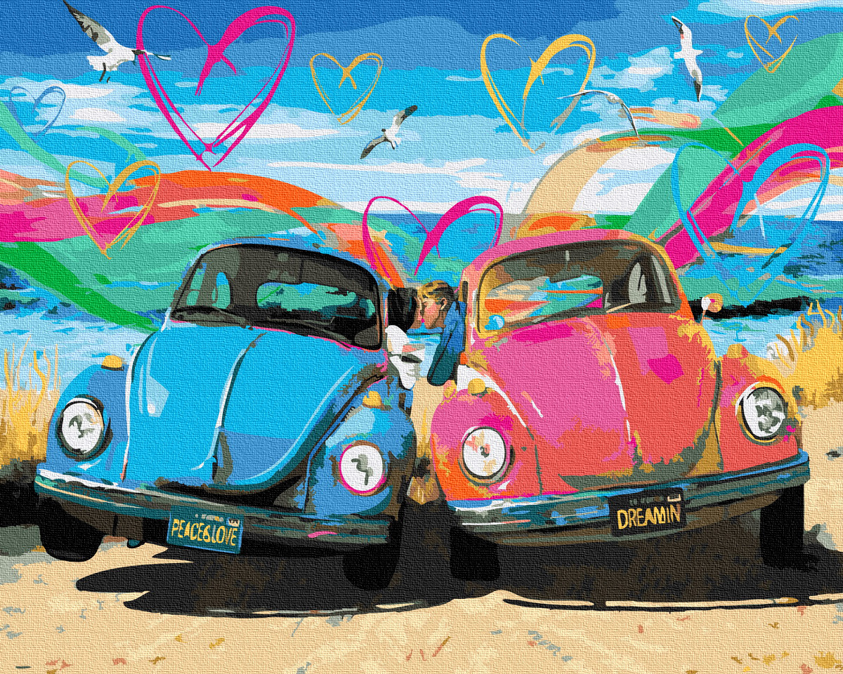 Картина по номерам Любовь. Мир. Ретро   GX36567